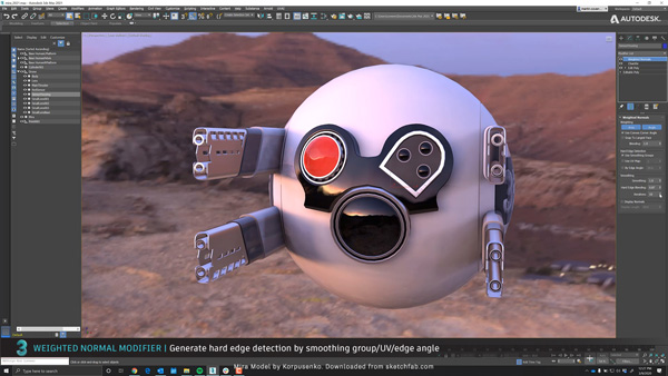 Autodesk 3dsmax weighted normal