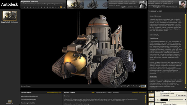 Autodesk game curriculum teaches development pipeline Web based 3d modeling