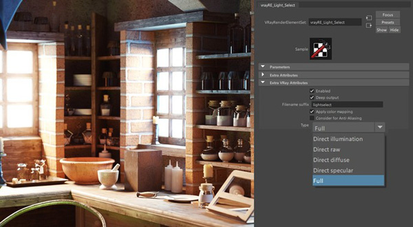 vray render elements light select